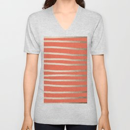 Simply Drawn Stripes in White Gold Sands on Deep Coral Unisex V-Neck
