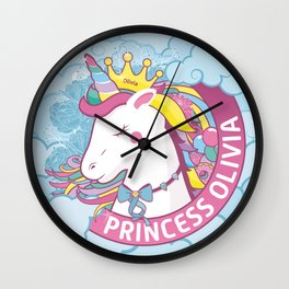 Olivia Name Gift Unicorn Pink and Pastel Colored Rainbow Hair Wall Clock