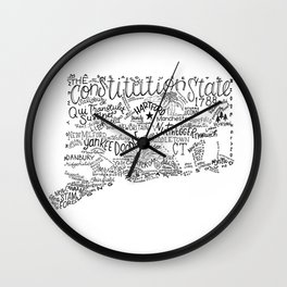 Connecticut - Hand Lettered Map Wall Clock