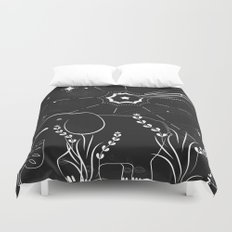 Elephant and comet Duvet Cover