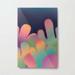 Colorful Glowing Cactus Metal Print