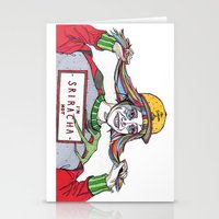 sriracha Stationery Cards featuring I'm Sriracha Hot by Yusun K