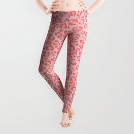 Coral Leopard Print - Living Coral design | Girly Pastel Cheetah Leggings