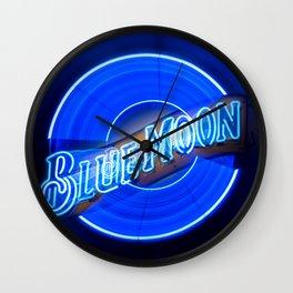 Blue Moon zoom burst neon sign Wall Clock