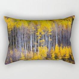 Autumn Aspens - Rows of Colorado Aspen Trees with Autumn Color in Reflection Illusion Rectangular Pillow