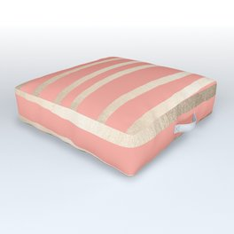 Simply Drawn Stripes in White Gold Sands and Salmon Pink Outdoor Floor Cushion