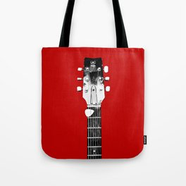 Guitar - Head, Red Background Tote Bag
