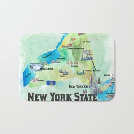 USA New York State Travel Poster Map with tourist highlights Bath Mat