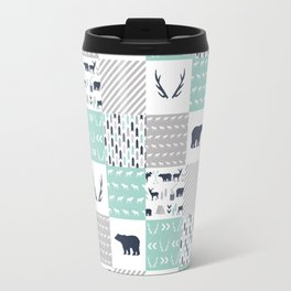 Camper antlers bears pattern minimal nursery basic navy mint white camping cabin chalet decor Travel Mug