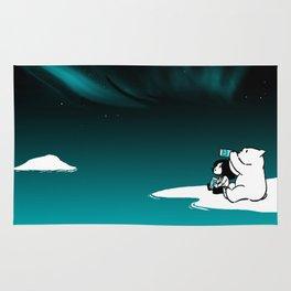 Icelandic bear, aurora borealis Rug