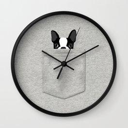 Pocket Boston Terrier - Black Wall Clock