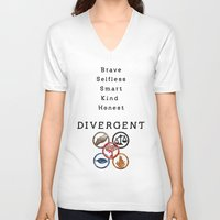divergent V-neck T-shirts featuring DIVERGENT - ALL FACTIONS by MarcoMellark