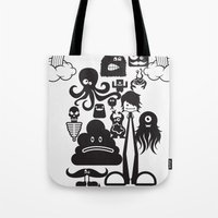 monster inc Tote Bags featuring Monster Collection Inc  by Dei Hendrick