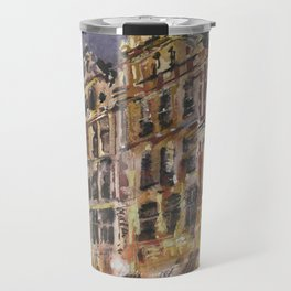 Brussels Grand Place market square art.  Painting of guilded hall on Market Square in downtown Bruss Travel Mug
