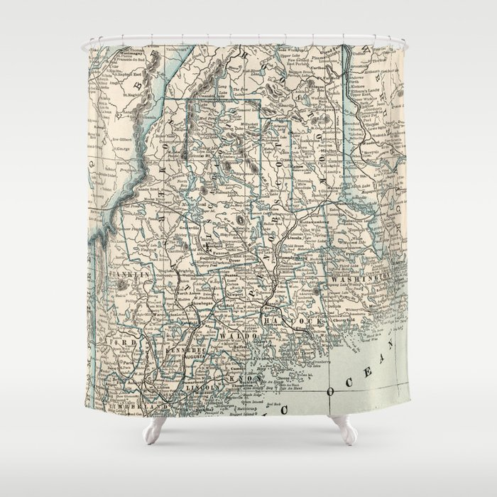 Vintage Map Of Maine 1893 Shower Curtain By Bravuramedia