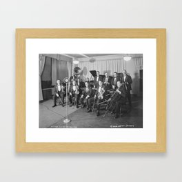 Vintage black and white photo of orchestra Framed Art Print