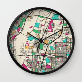 Colorful City Maps: Albuquerque, New Mexico Wall Clock