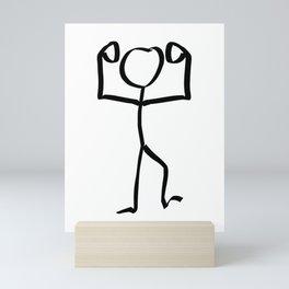 Stickman Figure Winner Illustration, One Line Drawing Figure, Success Symbol,  Mini Art Print