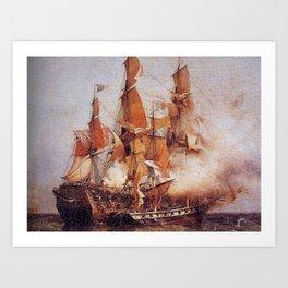 Naval battle between the Confiance and HMS Kent Art Print