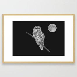 Owl, See the Moon (bw) Framed Art Print