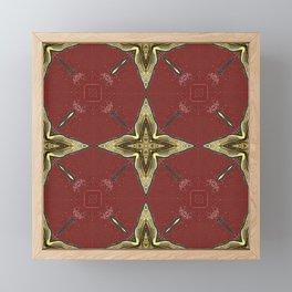 Gold Four-Pointed Nautical Star on Vivid Auburn / Red Background Framed Mini Art Print
