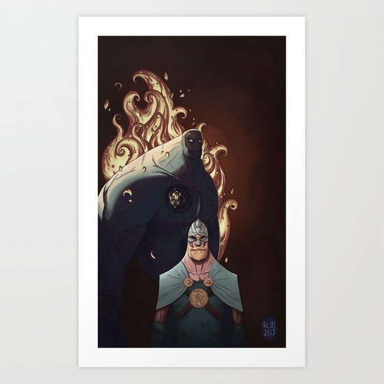 Viking VS Colossus Art Print
