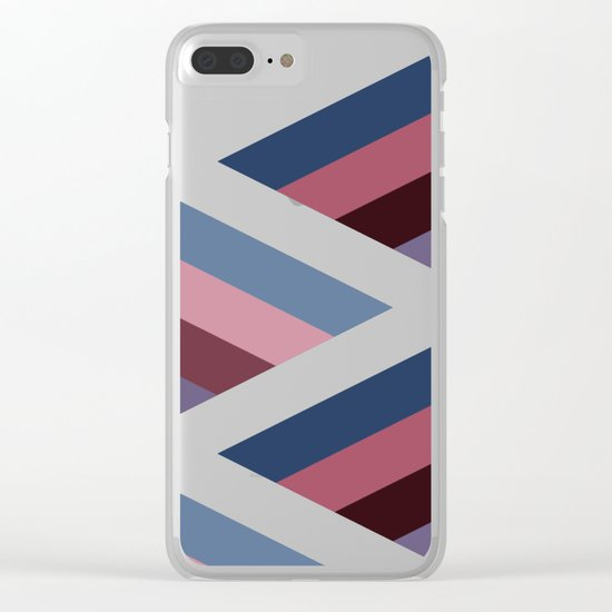 SQUARE HOLES / pale pink / marine blue / ancient pink / violet dark Clear iPhone Case