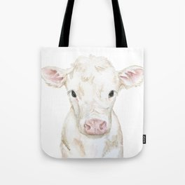 Baby White Cow Calf Watercolor Farm Animal Tote Bag