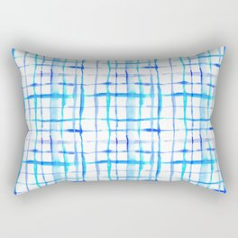 Watercolor Abstract Plaid TieDye in Indigo Ink Rectangular Pillow