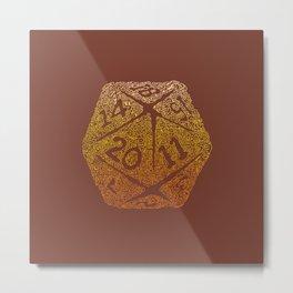 d20 - 70s vibe on brown - icosahedron gradient  Metal Print