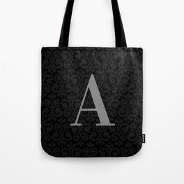 Modern Black Grey Damask Letter A Monogram Tote Bag