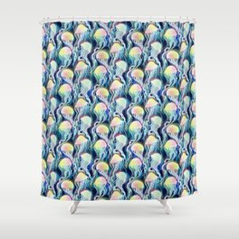 seamless pattern with iridescent jellyfishes Shower Curtain