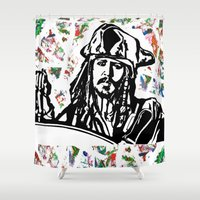 jack sparrow Shower Curtains featuring Jack Sparrow....Captain Jack Sparrow.. by Kramcox