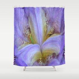 Purple Iris in Pencil Sketch 0174 Shower Curtain