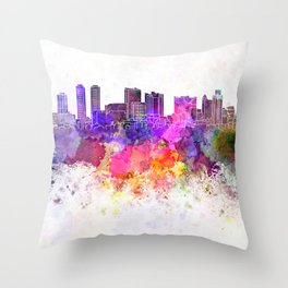 Colombo skyline in watercolor background Throw Pillow