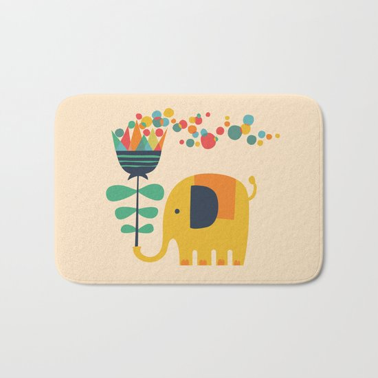Elephant with giant flower Bath Mat