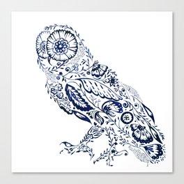 Folk Floral Indigo Owl Canvas Print