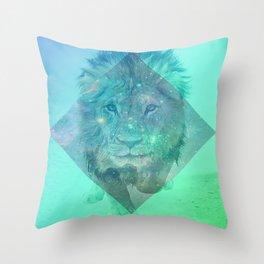 Galaxy dreaming Lion Throw Pillow