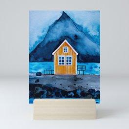 Norway Lofoten Oranges House Mini Art Print