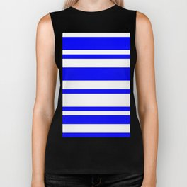 Mixed Horizontal Stripes - White and Blue Biker Tank