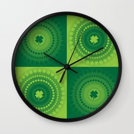 Checkered Clover Rings Pattern Wall Clock