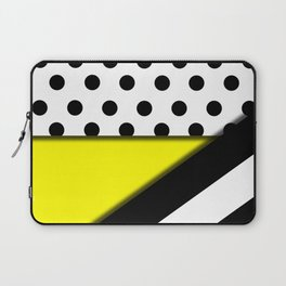 Black & White Polka Dots & Stripes With Yellow Laptop Sleeve