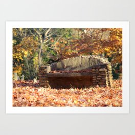 Fine Art Photography Fall Day Stone Bench Landscape  Art Print