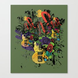 Grunge Guitar Illustration Canvas Print
