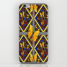 Grey-Yellow Butterfly Patterns Peacock Eyes  Design iPhone Skin