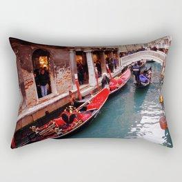 Gondolas On A Small Venetian Canal Rectangular Pillow