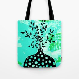 Plant in vase with dots Tote Bag