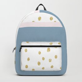 French blue blush pink gold glitter color block Backpack
