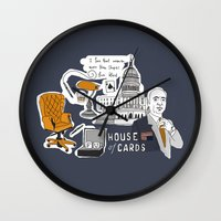 house of cards Wall Clocks featuring House of cards by zldrawings