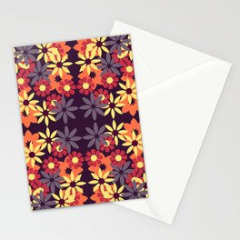 pattern with leaves and flowers doodling style Stationery Cards